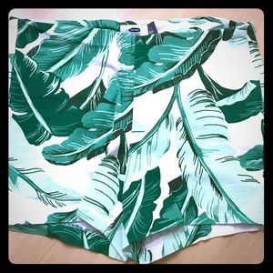 Banana leaf/ palm leaf print women's shorts